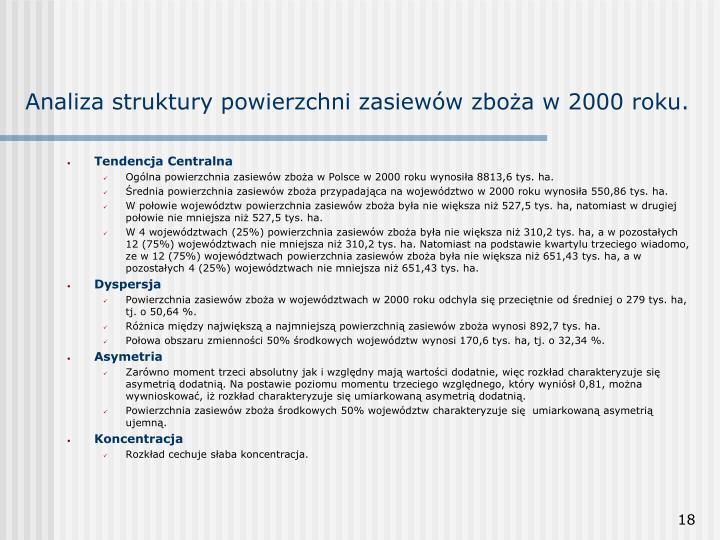 Analiza struktury powierzchni zasiewów zboża w 2000 roku.