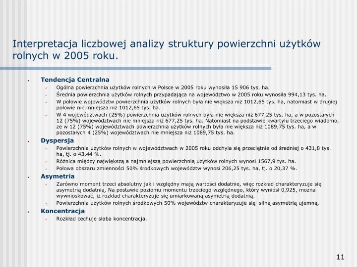 Interpretacja liczbowej analizy struktury powierzchni użytków rolnych w 2005 roku.