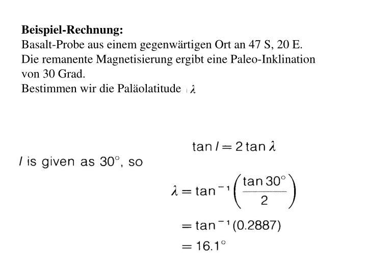 Beispiel-Rechnung: