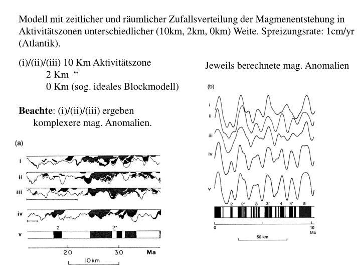 Modell mit zeitlicher und räumlicher Zufallsverteilung der Magmenentstehung in