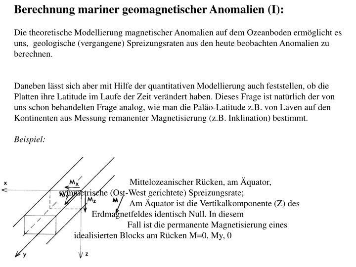 Berechnung mariner geomagnetischer Anomalien (I):