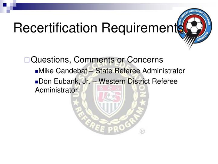 Recertification Requirements