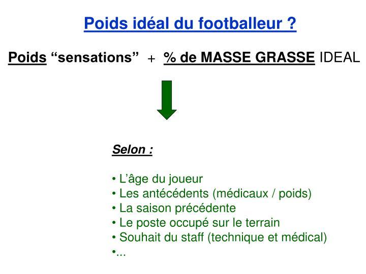 Poids idéal du footballeur ?