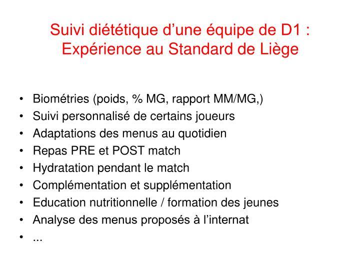Suivi diététique d'une équipe de D1 : Expérience au Standard de Liège