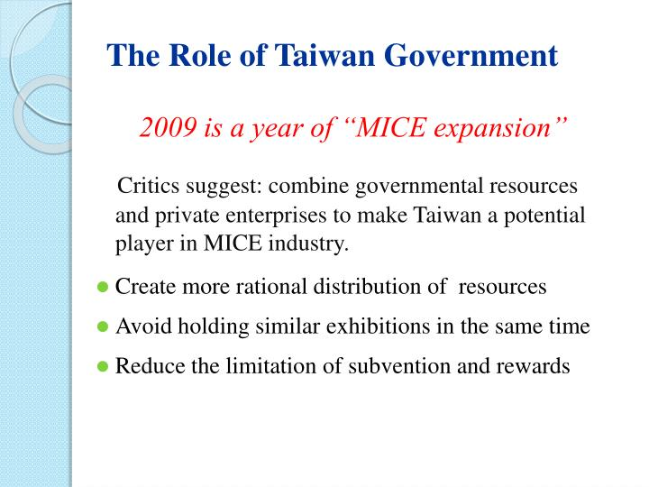 The Role of Taiwan Government