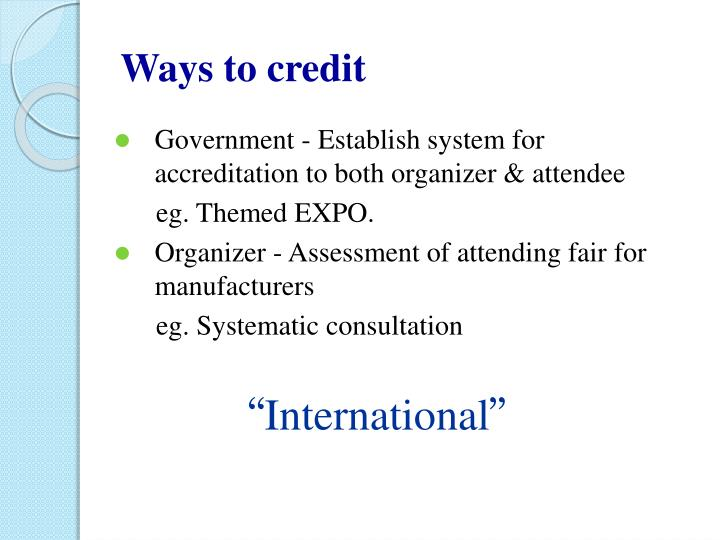 Ways to credit