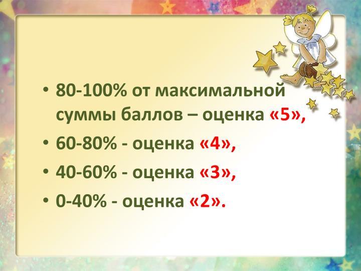 80-100% от максимальной суммы баллов –