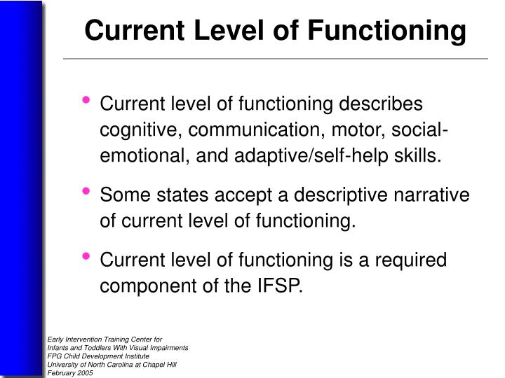Current level of functioning describes cognitive, communication, motor, social-emotional, and adaptive/self-help skills.