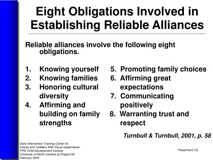 Reliable alliances involve the following eight obligations.