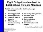 eight obligations involved in establishing reliable alliances