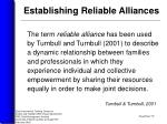 establishing reliable alliances