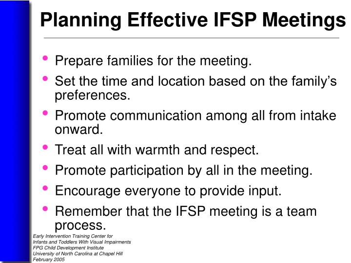 Prepare families for the meeting.