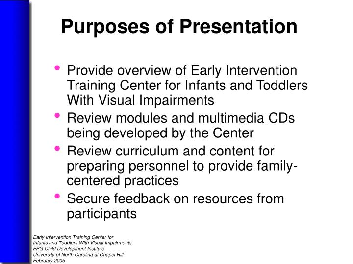 Provide overview of Early Intervention Training Center for Infants and Toddlers With Visual Impairments
