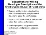 suggestions for writing meaningful descriptions of the child s current level of functioning