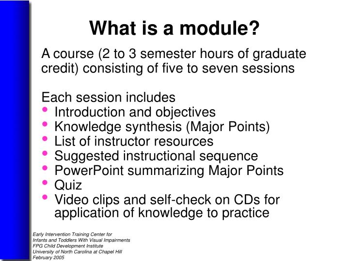 A course (2 to 3 semester hours of graduate