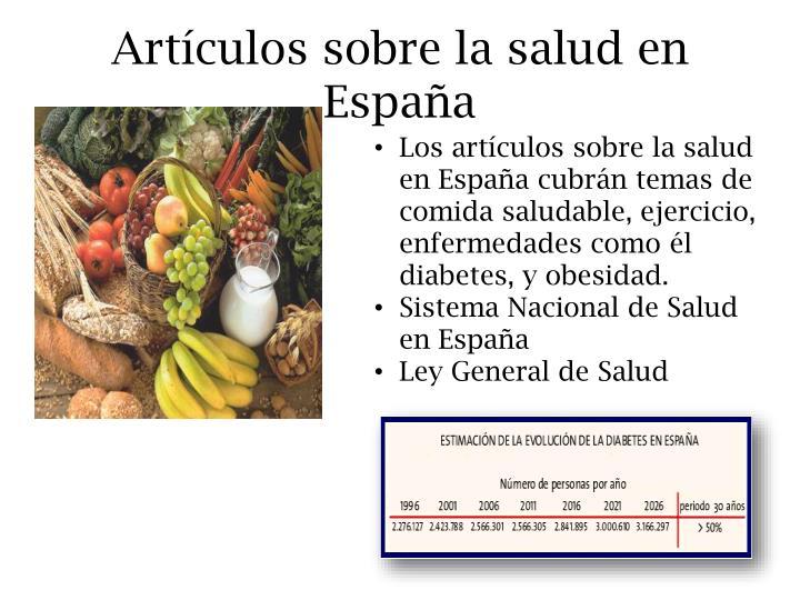 Artículos sobre la salud en España