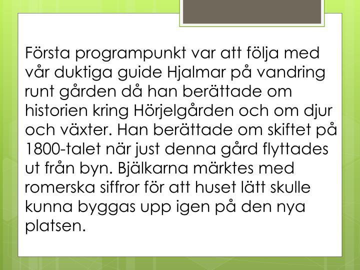 Första programpunkt var att följa med vår duktiga guide Hjalmar på vandring runt gården då han berättade om historien kring Hörjelgården och om djur och växter. Han berättade om skiftet på 1800-talet när just denna gård flyttades ut från byn. Bjälkarna märktes med romerska siffror för att huset lätt skulle kunna byggas upp igen på den nya platsen.
