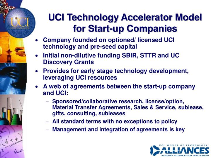 UCI Technology Accelerator Model for Start-up Companies