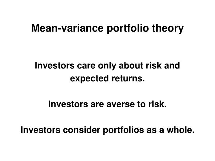Mean-variance portfolio theory