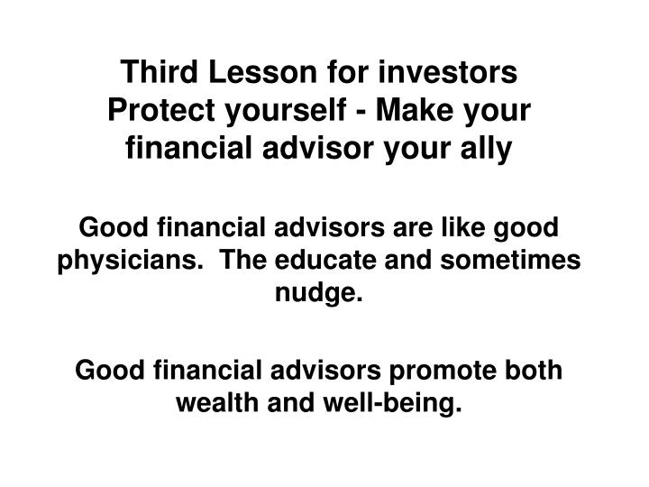 Third Lesson for investors