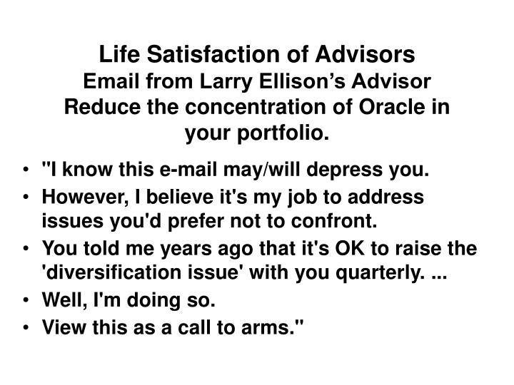 Life Satisfaction of Advisors