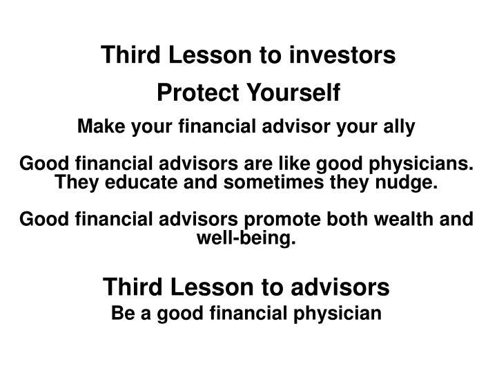 Third Lesson to investors