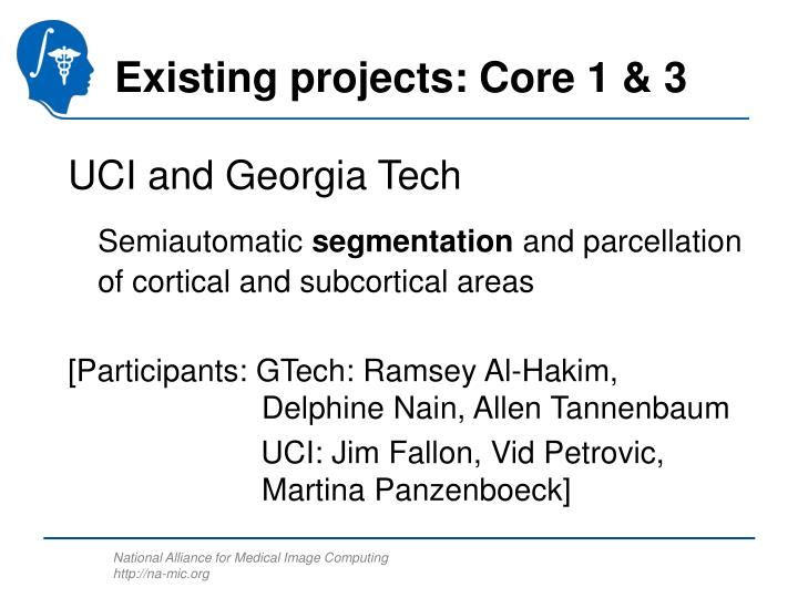 Existing projects: Core 1 & 3