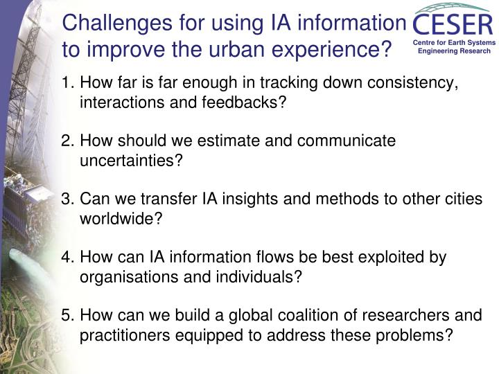 Challenges for using IA information to improve the urban experience?