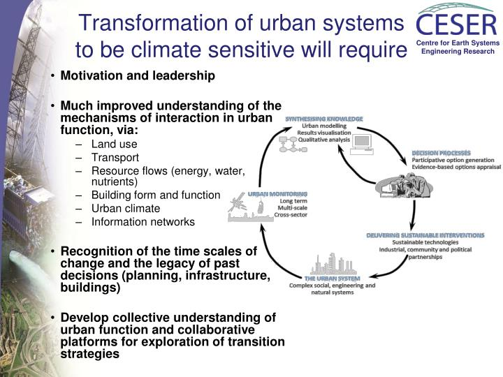 Transformation of urban systems
