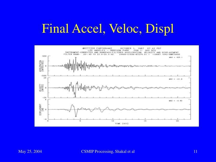 Final Accel, Veloc, Displ