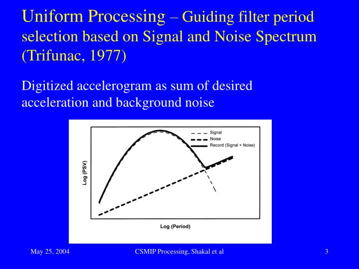 Uniform processing guiding filter period selection based on signal and noise spectrum trifunac 1977