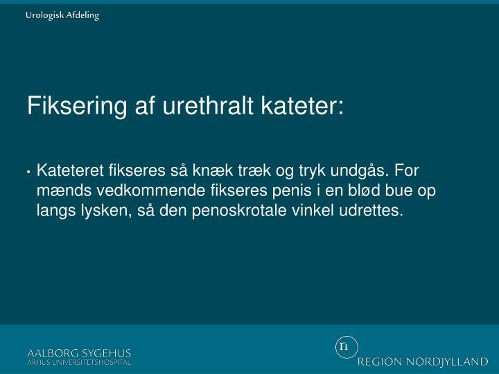 Fiksering af urethralt kateter: