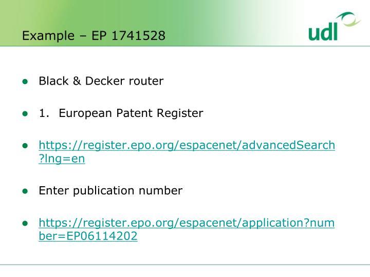 Example – EP 1741528