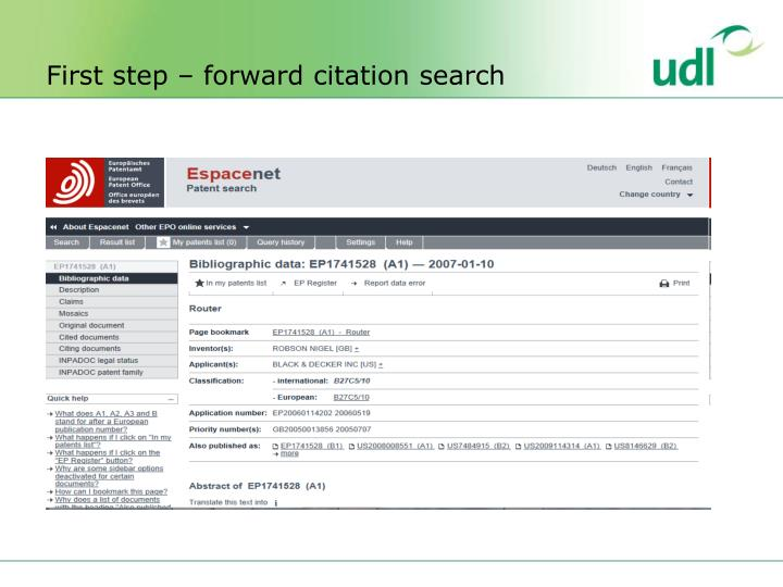 First step – forward citation search