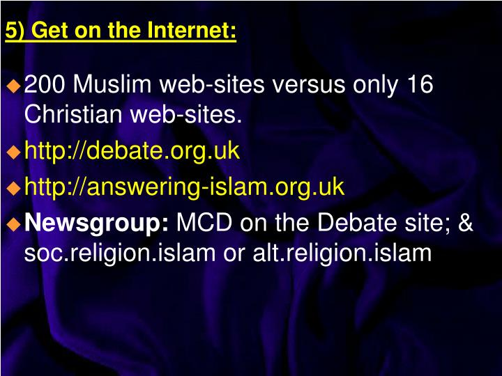 200 Muslim web-sites versus only 16 Christian web-sites.