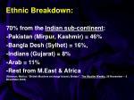 ethnic breakdown