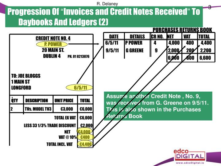 Progression of invoices and credit notes received to daybooks and ledgers 2