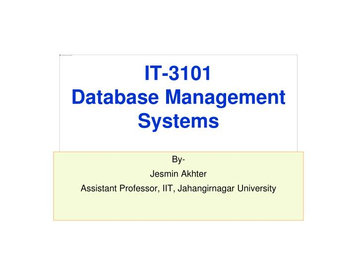 It 3101 database management systems