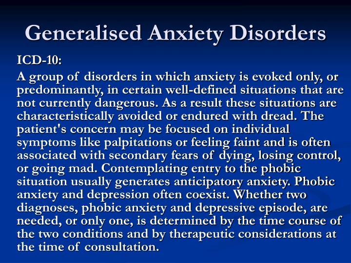 Generalised Anxiety Disorders