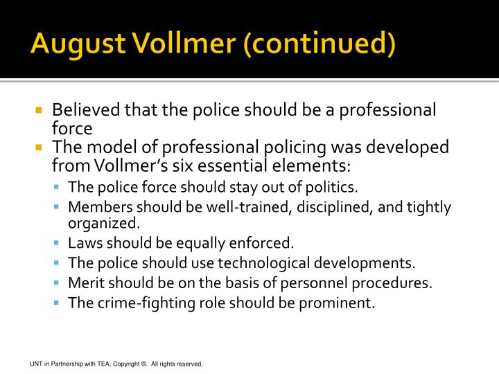 august vollmer Police science august vollmer 0 w wilson after planning this sketch about the career of august vollmer, the editorial board was pleased to have 0.