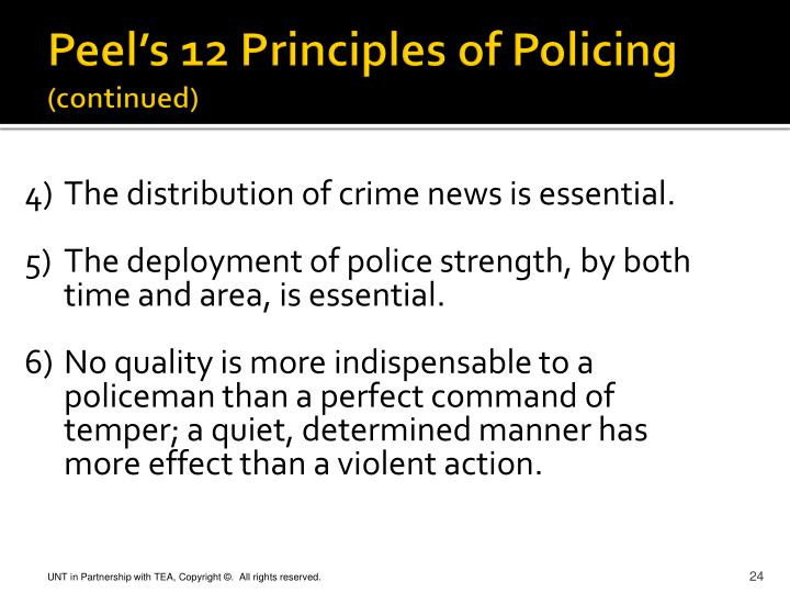 the review of peels principles of law enforcement