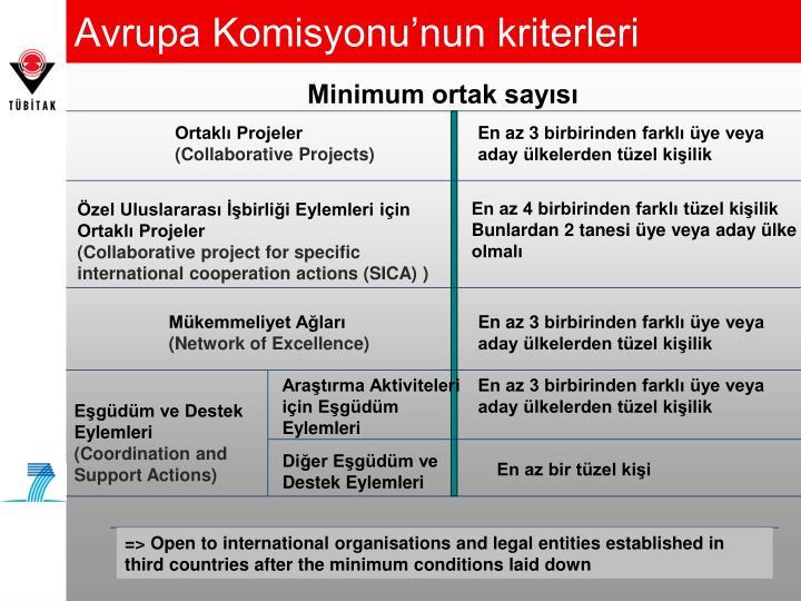 Avrupa Komisyonu'nun kriterleri