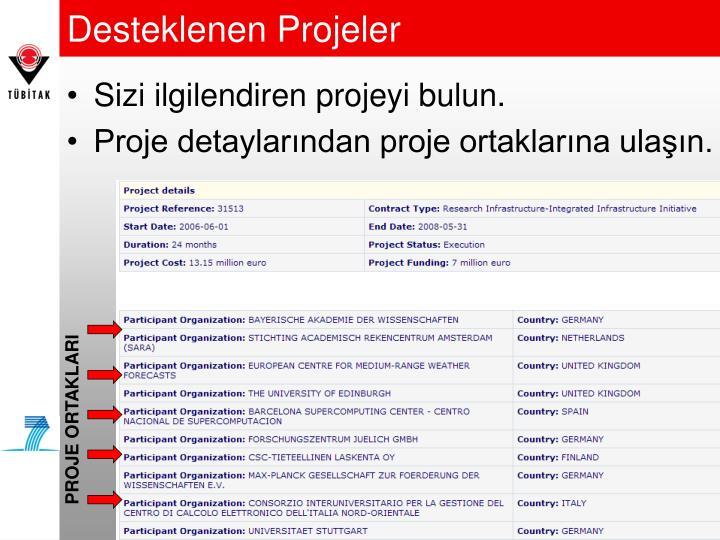 Desteklenen Projeler