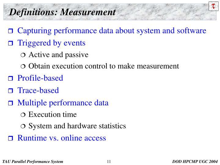 Definitions: Measurement