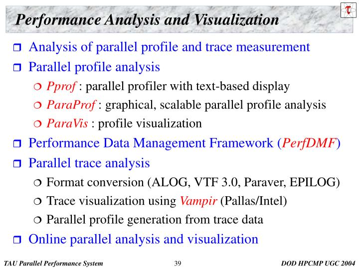 Performance Analysis and Visualization