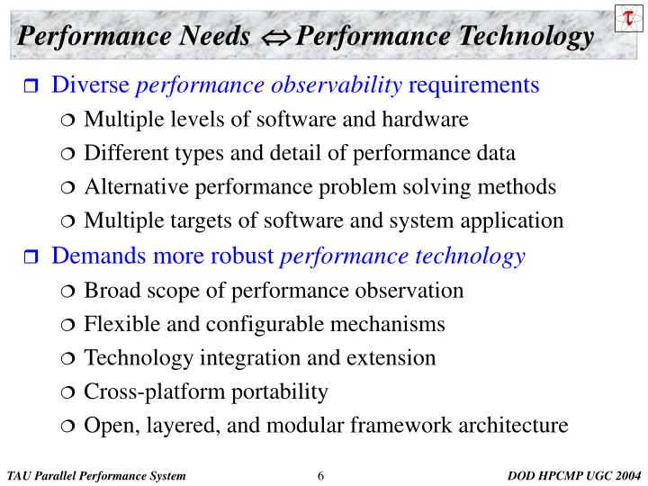 Performance Needs