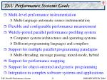 tau performance systems goals