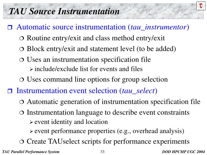 TAU Source Instrumentation