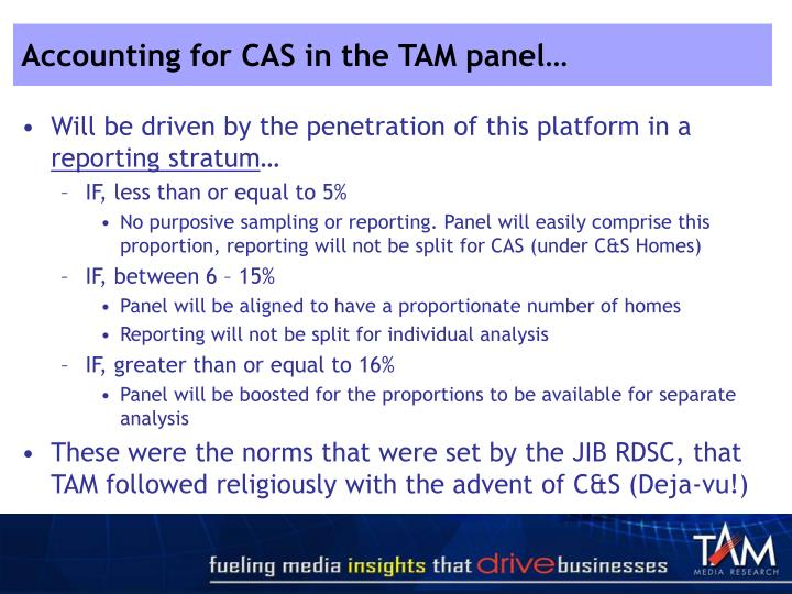 Accounting for CAS in the TAM panel…