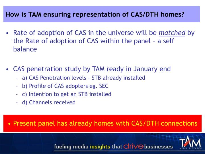 How is TAM ensuring representation of CAS/DTH homes?